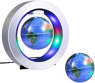 Globo Flotante de Levitación Magnética Globo Giratorio con el Mapa del Mundo Luces LED, Anti Gravedad Oficina de Escritorio Decoración Niños Educativo Globo (Azul)