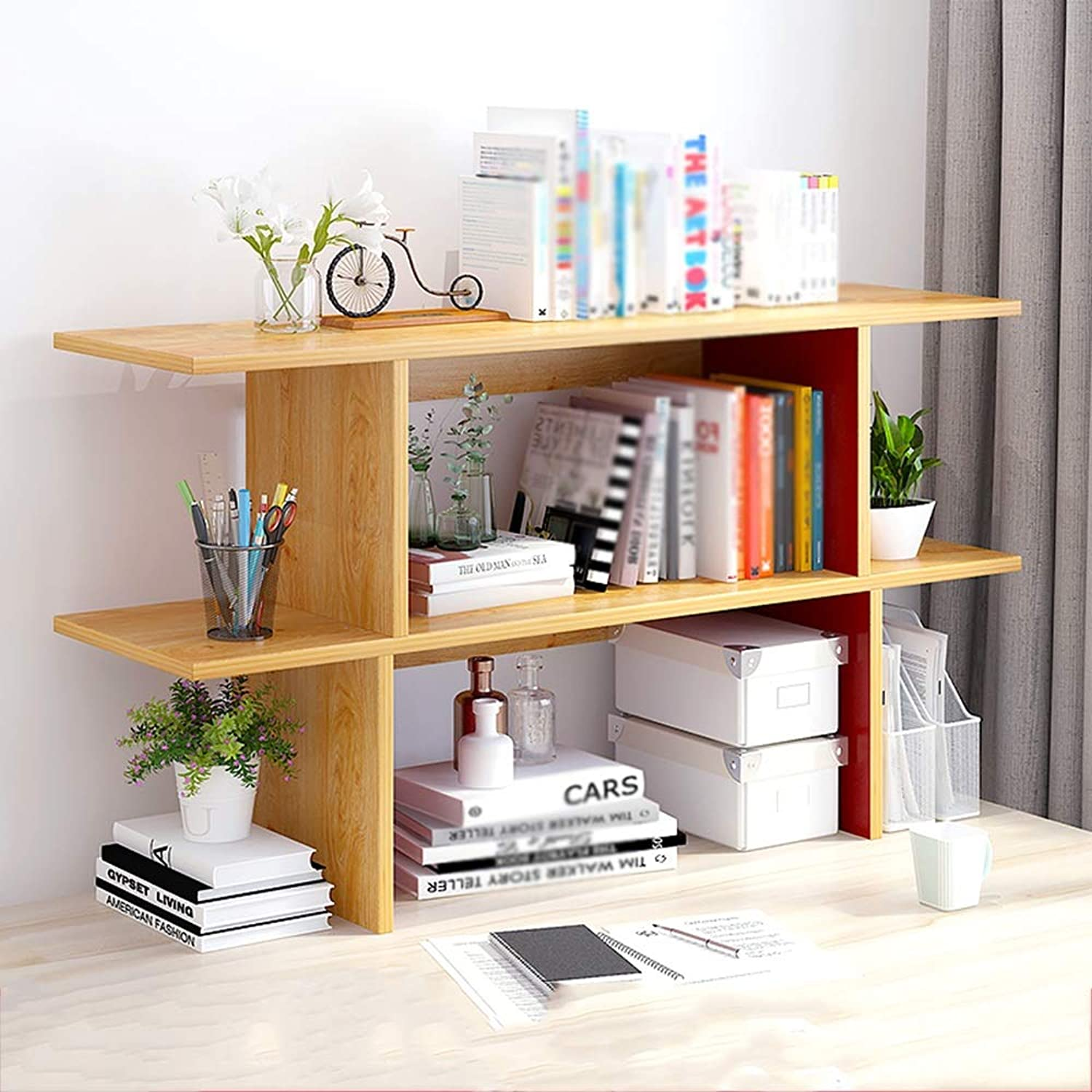 CL Simple Modern Desktop Solid Wood Shelf Multi-Function Bookshelf (Three Sizes to Choose from) Bookshelf (Size   C-110cm)