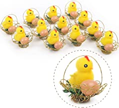 Arelux Yellow Easter Chicks Pack of 12| Chicken Decor with Basket |Baby Chickens Easter Decorations for Kids |Adorable Easter Bonnet Egg Decoration(12Pack Basket)