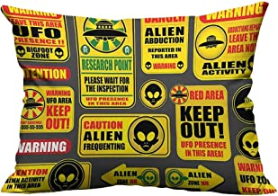 alsohome Zippered Pillow Covers Warning UFO Signs Alien Heads Galactic Paranormal Activity Yellow Decorative Couch 13x17.5 inch(Double-Sided Printing)