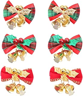 SKINNYBUNNY 2.2 Inch Christmas Cute Bow with Bells Christmas Tree Hanging Decorations Christmas Tree Garland Decorative Accessories 6 Pack