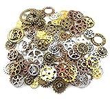 100g (70-80pcs) Mix Skeleton Steampunk Clock Watch Gear Cog Wheel Pendant Charms Jewelry Making DIY Steampunk Gear Pendant Charms Wholesale (4 Color Mixed)