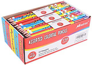 Madisi Assorted Colorful Pencils, Incentive Pencils,#2 HB, 10 Dsigns, 150 Pack, pencils bulk for kids