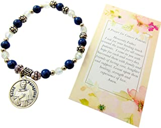 Westman Works St Peregrine Cancer Healing Saint Gift Set with Italian Bracelet and Holy Prayer Card