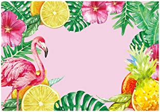Funnytree 7X5FT Let's Flamingo Aloha Tropical Hawaii Photography Backdrop Luau Pink Birthday Party Banner Summer Pineapple Floral Baby Shower Background for Photo Selfie Dessert Table Decoration