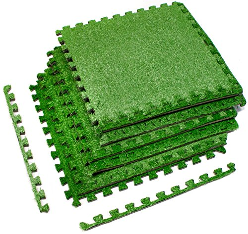 Sorbus Grass Mat Interlocking Grass Tiles – Soft Artificial Carpet Grass Turf – Multipurpose Fake Grass Flooring – for Deck, Patio, Playrooms, Borders Included (6 Tiles, 24 Sq ft)