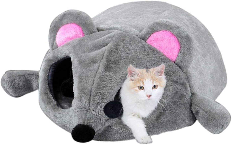 AXXcssqw9b Mouse Design House Bed Open Eye Toy Cat Kitten Small Dog Rabbit Winter Warm Nest Grey