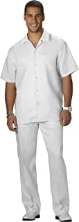 COOFANDY Men's 100% Linen Walking Set Casual Solid 2 Piece Short Sleeve Shirt and Long Pant