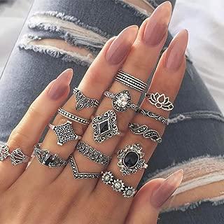 BERYUAN Women 15Pcs Bohemian Knuckle Flower Black Vintage Ring Set Vintage Silver Crystal Joint Knuckle Ring Set for Women and Girls