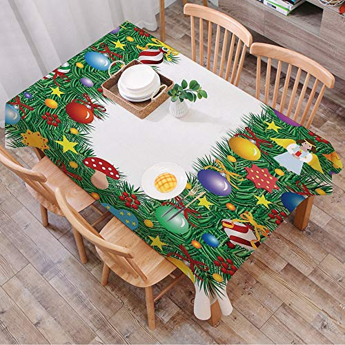 Tablecloth Rectangle Table Cloth Cotton Linen Wrinkle Free,Letter U,Candy Canes Mushrooms Angel Figure on Xmas Tree Seasonal Compo,Tablecloths Washable Table Cover for Kitchen Dinning Party 140x200 cm