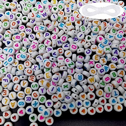 Cuentas del Alfabeto Redondo 1200 Abalorios para Hacer Pulseras, 1100 Abalorios Letras Redondas, 100 Amor Cuentas de Corazón Con Cuerda de Cristal para Pulseras DIY Manualidades