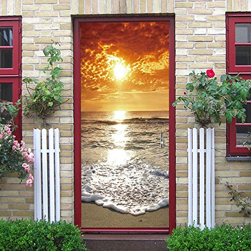 DJOIEPO 3D Door Mural spray Art Door Stickers Wallpaper for Interior Doors Removable Self Adhesive Waterproof Vinyl Decoration for Living Room Bedroom House 77 x 200 cm