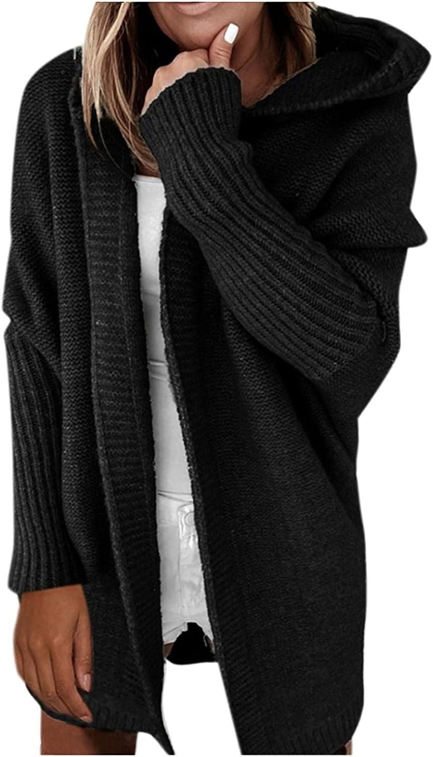 Women's Plus Size Fuzzy Sweater Coat Autumn Winter Solid Color Hooded Open Stitch Batwing Sleeve Thick Cardigan Coat