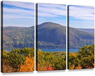 Trees in Autumn Colors (Foliage), Catskill Mountains and River, Hudson Valley New York.3 Pieces Print On Canvas Wall Artwork Modern Photography Home Decor Unique Pattern Stretched and Framed 3 Piece