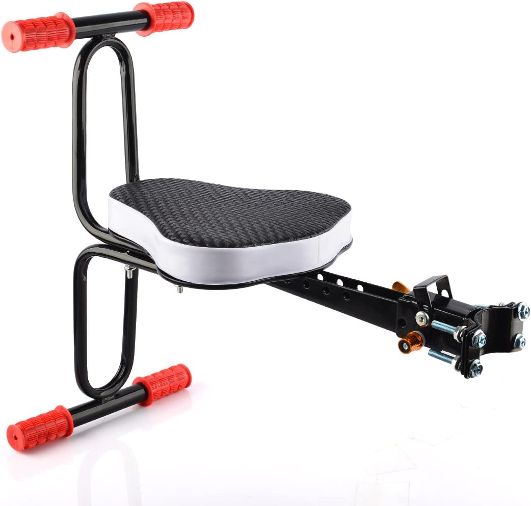 FenglinTech Child Bike Seats, Quick Dismounting Seat Bicycle Electrombile Preposed Safety Seat with Armrest and Pedal Easy to Installment - Black