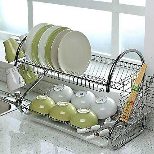 Popamazing Scolapiatti a 2 ripiani, cromato, con vassoio di gocciolamento e supporti porta-oggetti