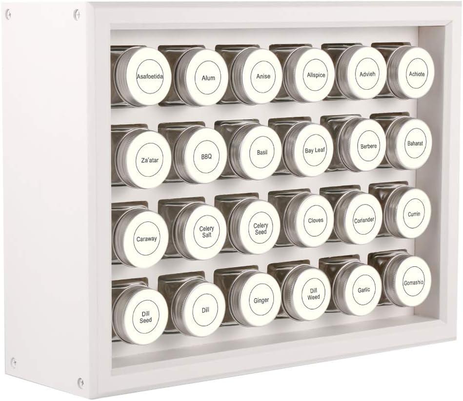 Bianco Portaspezie in Legno Massello al 100/% Include 24 Barattoli in Vetro Trasparente da 120 ml 315 Etichette Prestampate Completamente Assemblato.