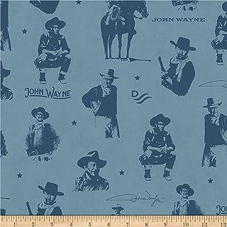 Riley Blake John Wayne Silhouettes Blue Fabric