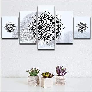 RTYUIHN لوحة قماش 5 قطع من قماش جدار الفن الحديث ديكور الحائط غرفة المعيشة ديكور قماش اللوحة الإسلامية المسلمين اللوحة