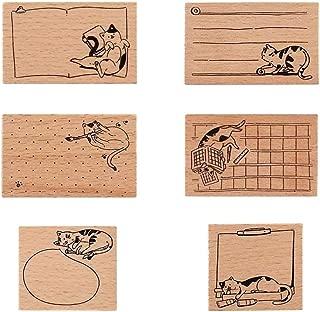 MissOrange『木製ゴム印セット』可愛い ねこ クリエイティブスタンプセット クラフトカード スクラップブッキング 手帳用 6個セット 猫