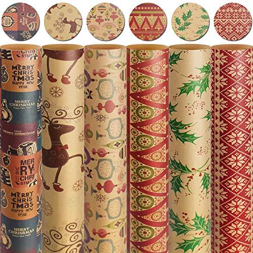 UMIPUBO Papier Cadeau Rétro Emballage de Papier de Noël Kraft Anniversaires Mariages Papier demballage pour Les Cadeaux (6 pièces-E)