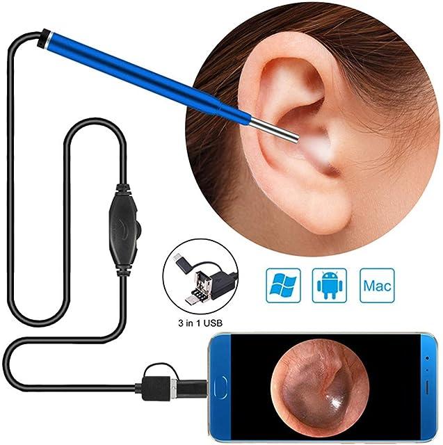 LittleMokey 3 en 1 Cámara endoscopio USB 3.9mm 720P HD 1.0MP de inspección Impermeable Otoscopio Herramienta de eliminación de Cera para Android