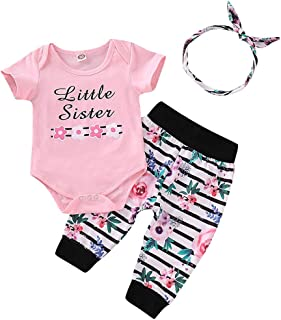 3Piece Toddler Infant Baby Girl Outfits Set, Floral Letter Romper Stripe Pants Hair Band 3M-24M Fashion Clothes Suit