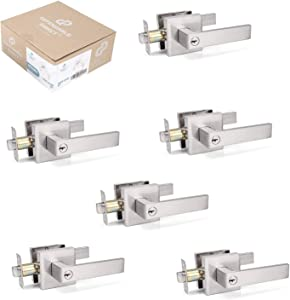 6 Pack of Contemporary Square Door Handle Lever Sets - Entrance for Home Entrances - Satin Nickel