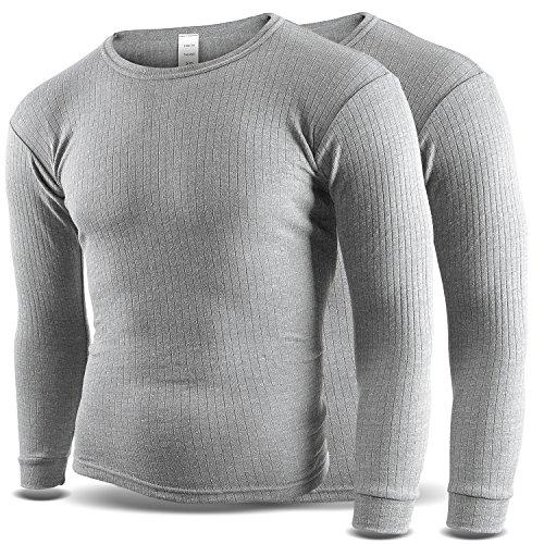 Thermounterhemd Thermounterwäsche Sport Unterhemden Herren 2 Stück langarm BlackSnake® - 4XL - Grau