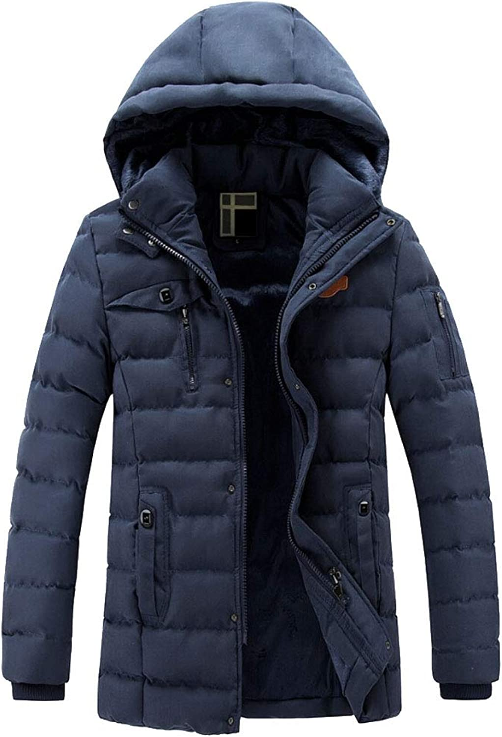Maweisong Men Warm Thicken Cotton Parka Removable Hood Jacket Coats