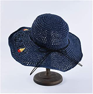 Hat Ladies Embroidery Korean Version of The Hook Straw hat Sunscreen Visor Collapsible Sun hat Straw hat` TuanTuan (Color : Navy)