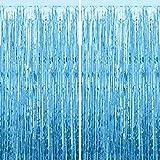 CHRORINE 2pcs 1m x 2m Light Blue Metallic Tinsel Foil Fringe Curtains Birthday Backdrop Party Streamers Door Streamers Foil Curtain For Birthday Party Decoration, Blue Party Decorations