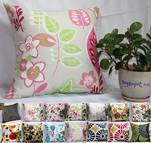 TangDepot 100% Cotton Floral/Flower Printcloth Decorative Throw Pillow Covers /Handmade Pillow Shams, 14 Color and 10 Size options, Light Black, Peach Blossom, Red Rosebush, Red And Green Leaf, White