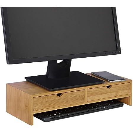 SoBuy® FRG198-N Réhausseur d'écran Support de Moniteur Écran Ergonomique Support pour Écran d'ordinateur Universal, Ordinateur Portable ou écran TV Réhausseur d'écran en Bambou