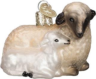 Old World Christmas Spiritual Gifts Glass Blown Ornaments for Christmas Tree Sheep with Lamb