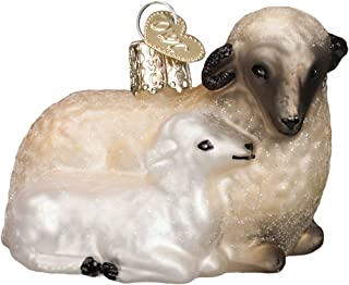 Old World Christmas Ornaments: Sheep with Lamb Glass Blown Ornaments for Christmas Tree