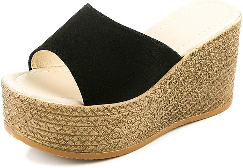 Btrada Women Platform Wedges Slippers Female Luxury Open Peep Toes Summer shoes Black Wedge Sandals