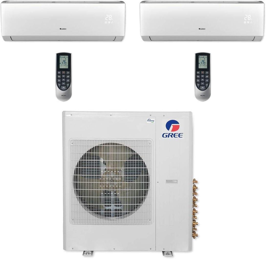 Gree Multi42cvir209 42 000 Btu Multi21 Dual Zone Wall Mount Mini Split Air Conditioner Heat Pump 208 230v 24 24 Home Kitchen