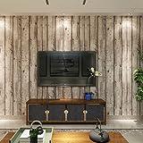HANMERO Papier Peint Vinyle Motif de Bois Naturel pour Chambre Salon TV...