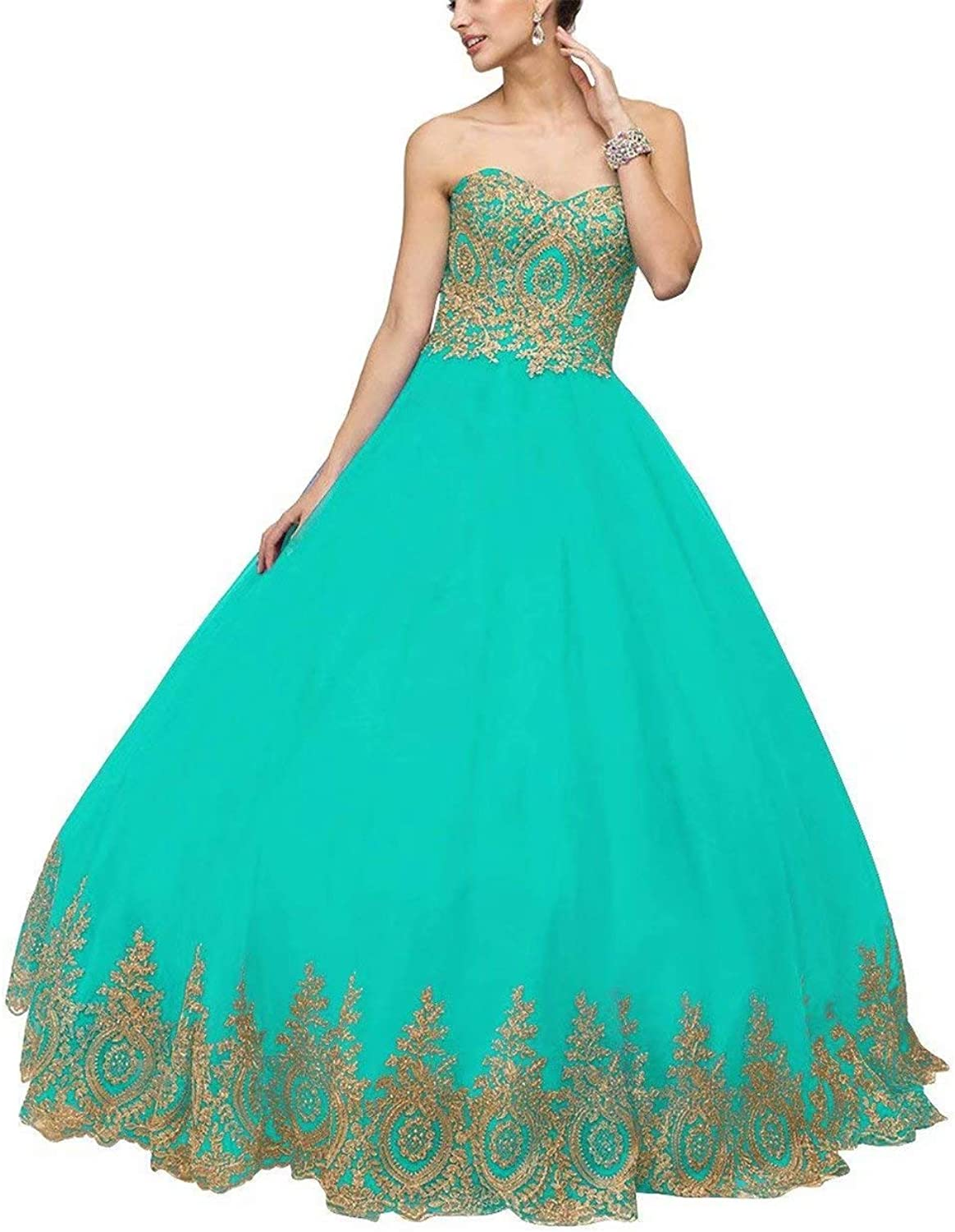 HAiliFier Women's Lace Appplique Quinceanera Dress Long Tulle Prom Birthday Ball Gown