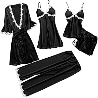 Fankle Women's Sleepwear 5 Pcs Suit Sale Lace Trim Satin Robe + Nightgown + Camisole Shorts Pajama Set + Long Pants