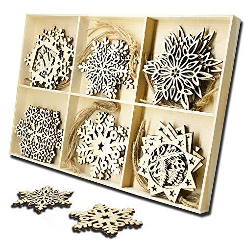 Shanke Copo de Nieve de Navidad Redonda De Chic Madera Navidad Adorno Regalo de Decoracion Árbol de Navidad de Madera Colgante, 6 Tipos, Cada Tipo 5 Piezas con 30 Cuerdas Totalmente