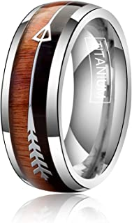 8mm Titanium Rings for Men Women Wedding Bands Abalone Shell and Koa Wood Arrows Inlay Plain Dome High Polished Comfort Fit Size 7.5-14