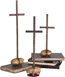 Kalalou Rustic Iron Scrap Metal Crosses w/ Caged Rock Bases-Set of 3