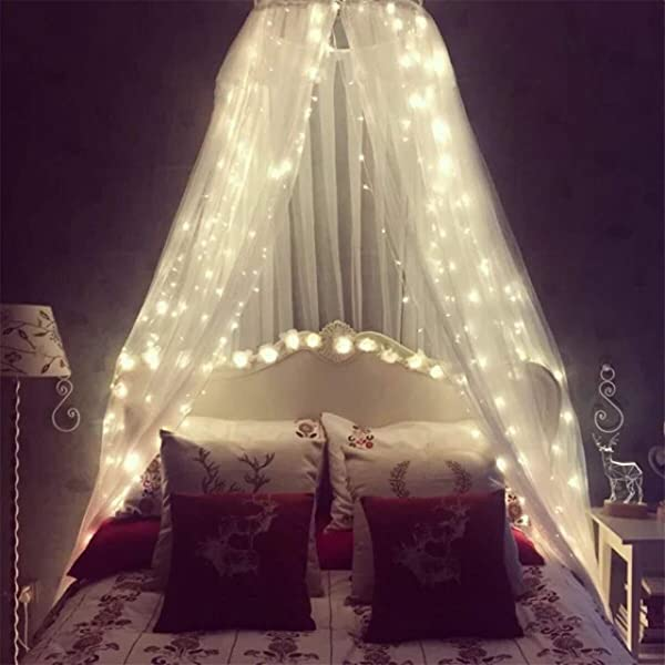 Mosquito Net For Bed Bed Canopy With 100 Led String Lights Ultra Large Hanging Bed Curtain Netting For Baby Kids Girls Or Adults 1 Entry For Single To King Size Beds Camping Patio White