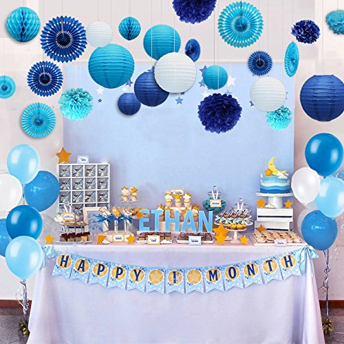 Kubert 89 Pcs White And Blue Party Decorations Including Paper Tissue Pompoms