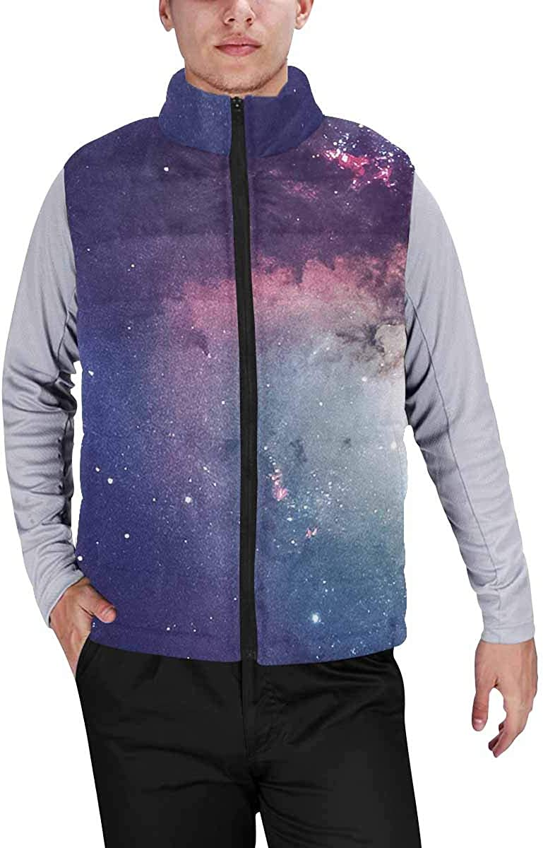 InterestPrint Men's Winter Full-Zip Outwear Padded Vest Coats Universe Scene with Planets, Stars and Galaxies XS
