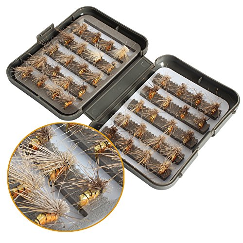 40 piezas/lote trucha ninfa pesca con mosca TOPIND cebo de pesca de pesca con mosca 6 colores mosca con caja de cebo artificial (01-Flyfishinglures)