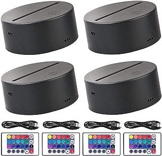 4-Pack 3D Night LED Light Lamp Base + Remote Control + USB Cable Adjustable 7 Colors Decoration de la Maison Decorative Lights for Bedroom Child Room Living Room Bar Shop (4 Pack Black)
