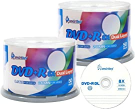Smart Buy Logo 100 Pack DVD Plus R DVD+r Dl 8.5gb 8X Double Layer Blank Data Record 100 Discs Spindle